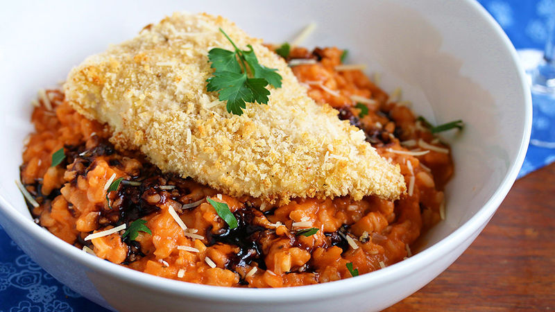 Crispy Chicken with Tomato Risotto