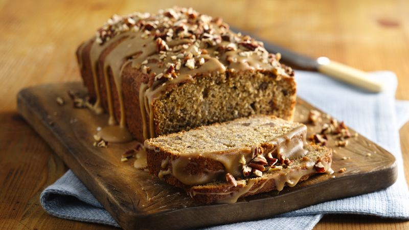 Whole Wheat Banana Bread with Caramel Glaze