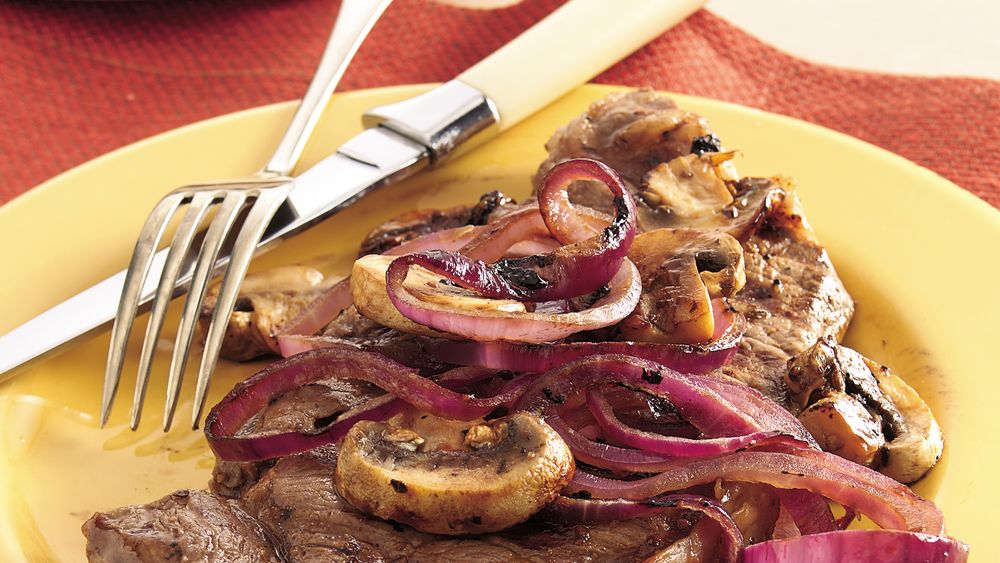 Grilled Strip Steaks with Balsamic Onions