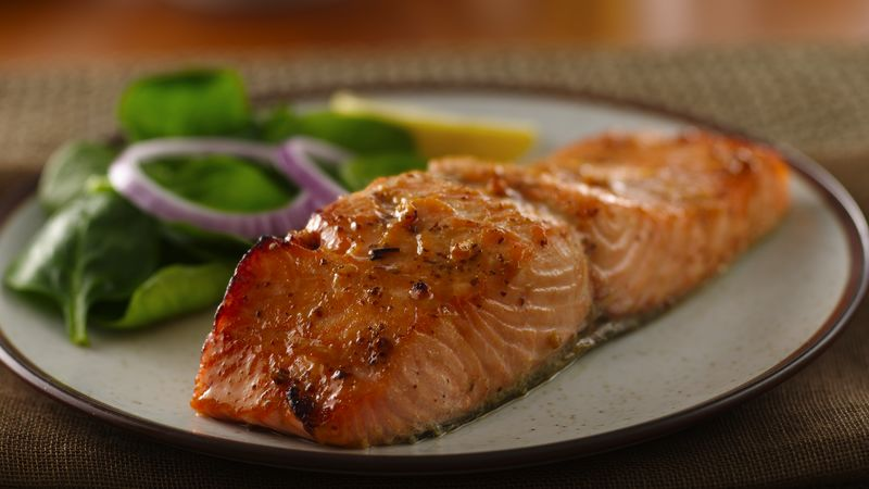 Honey Mustard Glazed Salmon Recipe - BettyCrocker.com