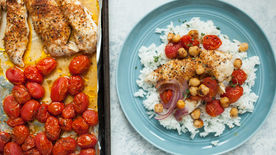 Sheet-Pan Chicken with Roasted Cherry Tomatoes and Chickpeas