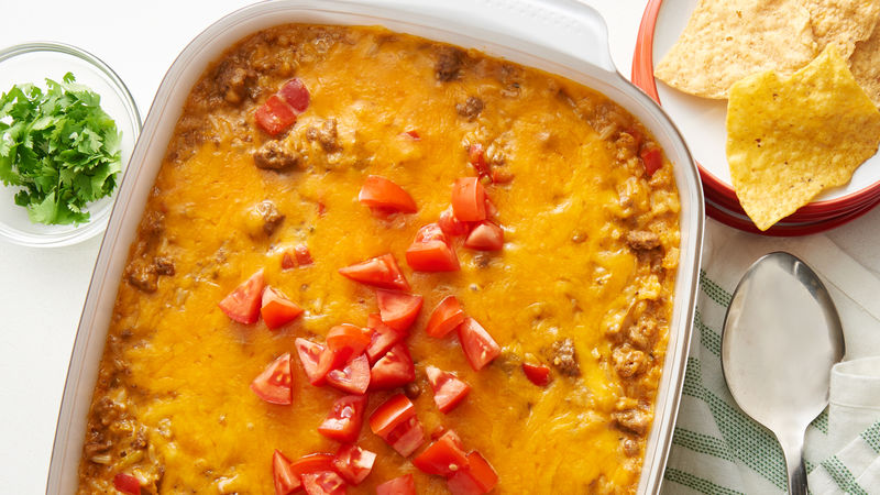 Queso Beef and Rice Casserole