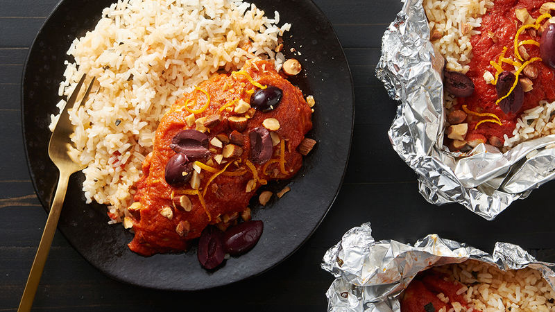 Spanish Romesco Chicken and Rice Foil Packs