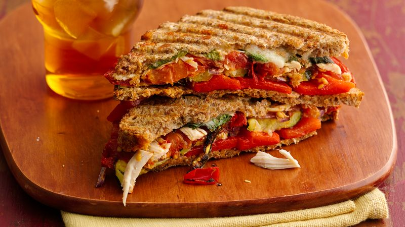 Skinny Chicken and Roasted Vegetable Paninis