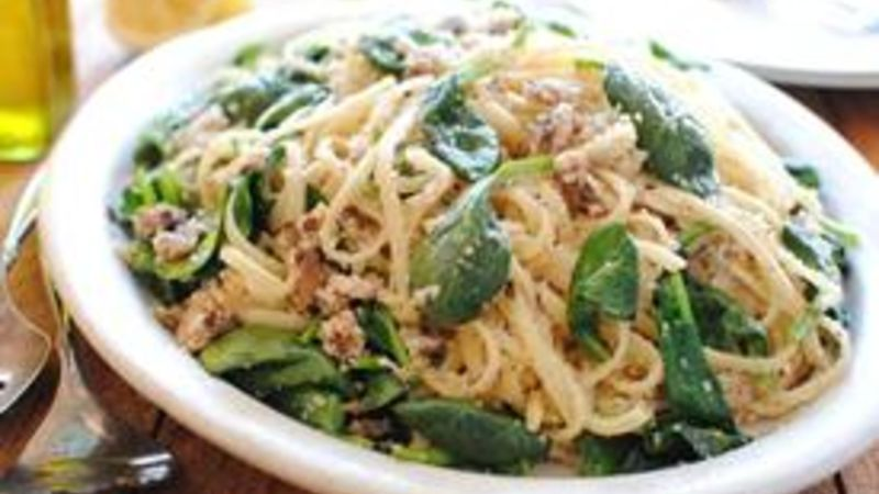 Linguine with Sardines and Spinach