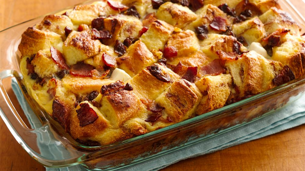 Bacon and Date Cinnamon Roll Strata