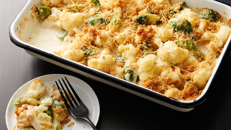 Creamy Brussels Sprouts and Cauliflower Gratin