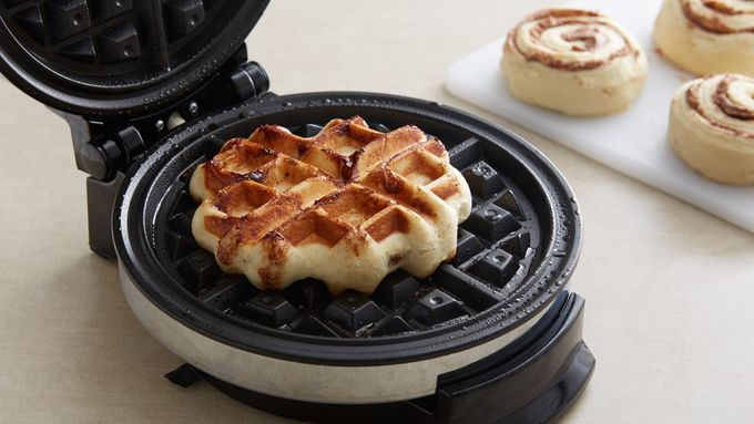 For Each Waffle Place 1 Cinnamon Roll In Center Of Waffle Maker Close Bake 3 To 4 Minutes Or Until Waffle Is Thoroughly Cooked And Golden Brown