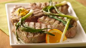 Grilled Tuna Steaks with Green Onions and Orange Butter