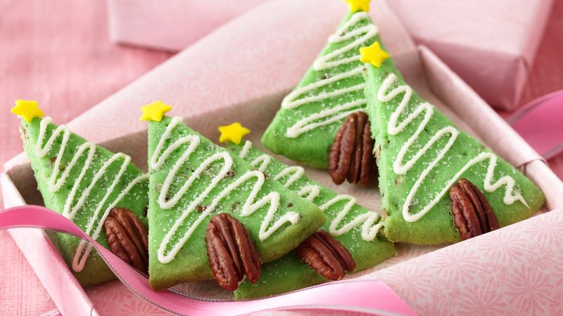 Pecan Shortbread Christmas Tree Cookies Recipe Bettycrocker Com