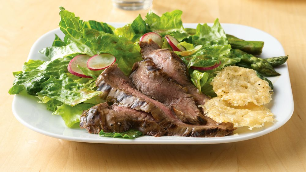Grilled Flank Steak Salad with Parmesan Crisps