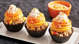 Candy Corn Cereal Treat Cupcakes