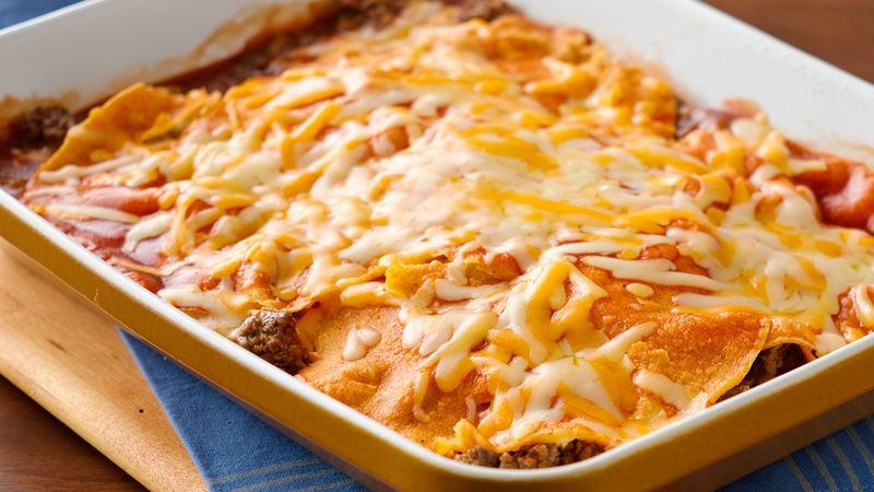 Easy Layered Beef Enchiladas Recipe Pillsbury Com