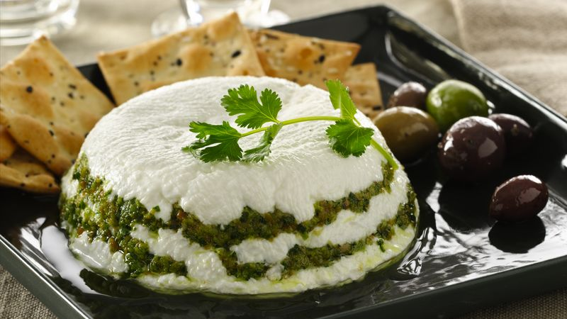 Yogurt Cheese Torta with Cilantro Pesto