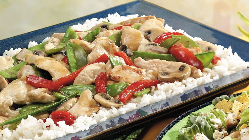 Vegetable-Chicken Stir-Fry with Rice
