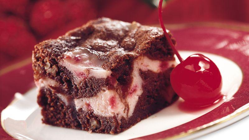 Merry Cherry Swirl Brownies