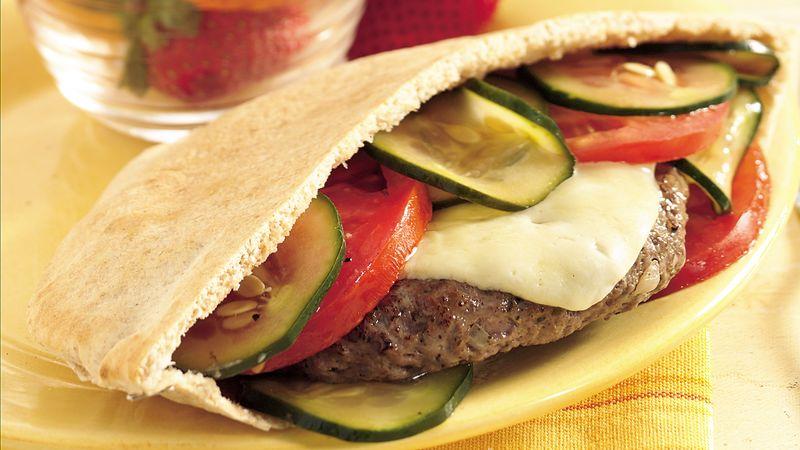 Grilled Havarti Burgers in Pitas