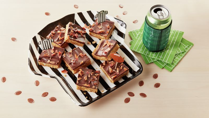 Touchdown Bacon-Chocolate-Peanut Butter Cookie BarsBetty Crocker Kitchens