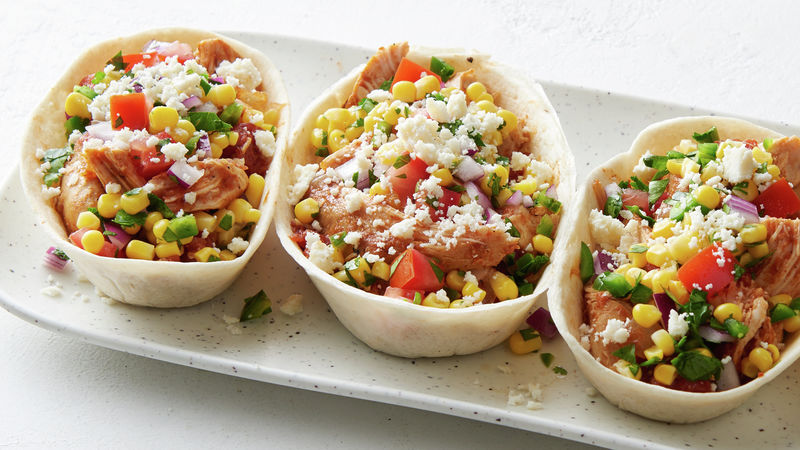 Slow-Cooker Chipotle Chicken Taco Bowls with Corn-Jalapeño Salsa