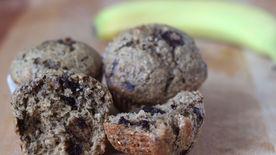 Chocolate Chia Banana Nut Muffins