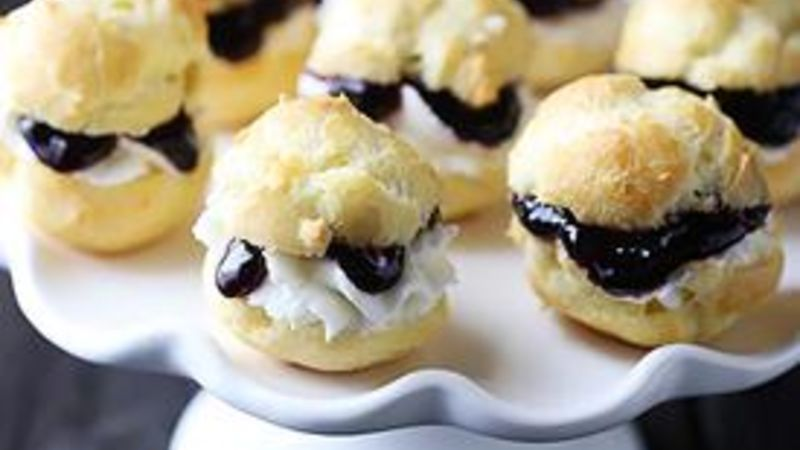 Quick Boozy Raspberry Sauce and Cream Puffs
