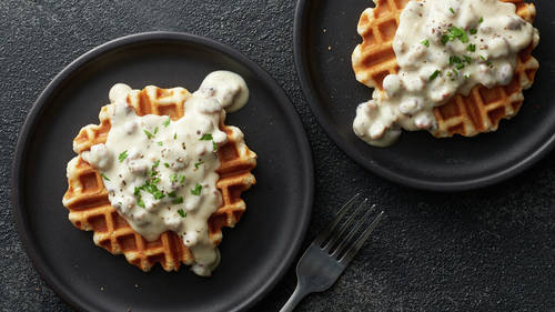 Biscuit Waffles with Turkey Sausage Gravy