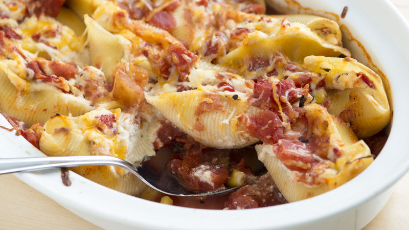 Roasted Red Pepper and Tomato Stuffed Shells
