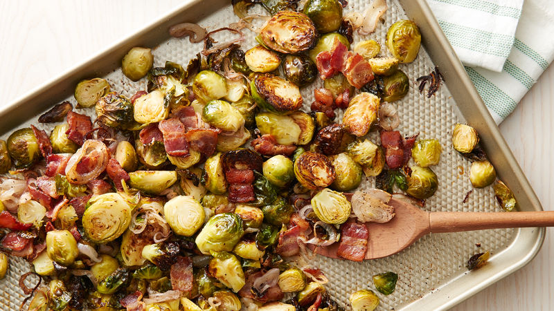 Sheet Pan Roasted Brussels Sprouts Bacon And Shallots Recipe Bettycrocker Com