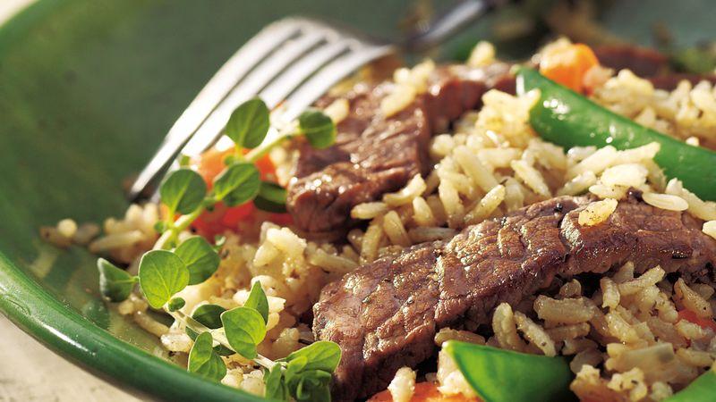 Skillet Beef Veggies And Brown Rice Recipe Pillsbury Com