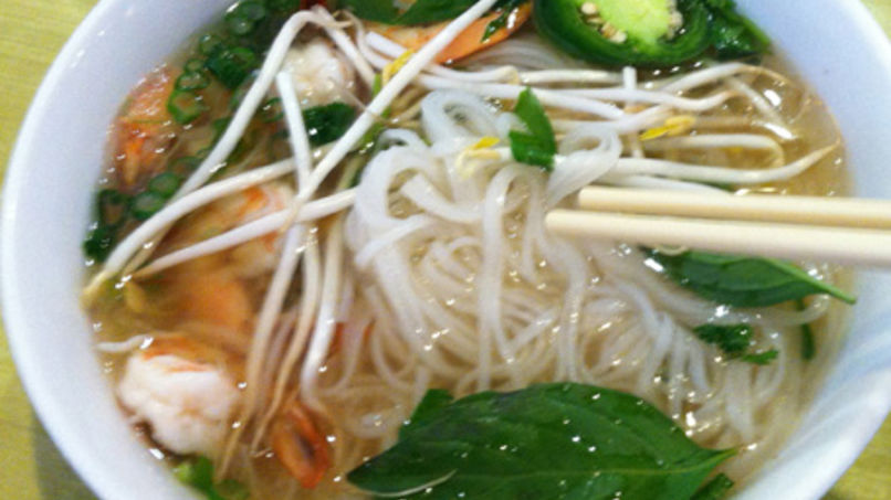 Pho Noodles Soup with Shrimp and Fish