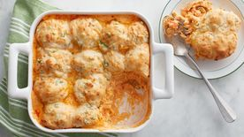 Buffalo Chicken Pot Pie with Cheddar Biscuits