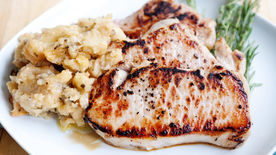 Beer Brined Pork Chops with Roasted Apples