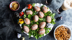 Spicy Football Deviled Eggs