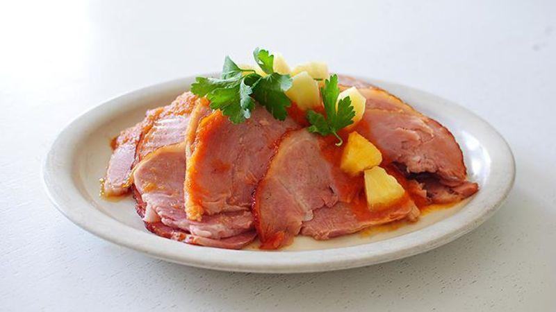 Sriracha-Pineapple Glazed Ham