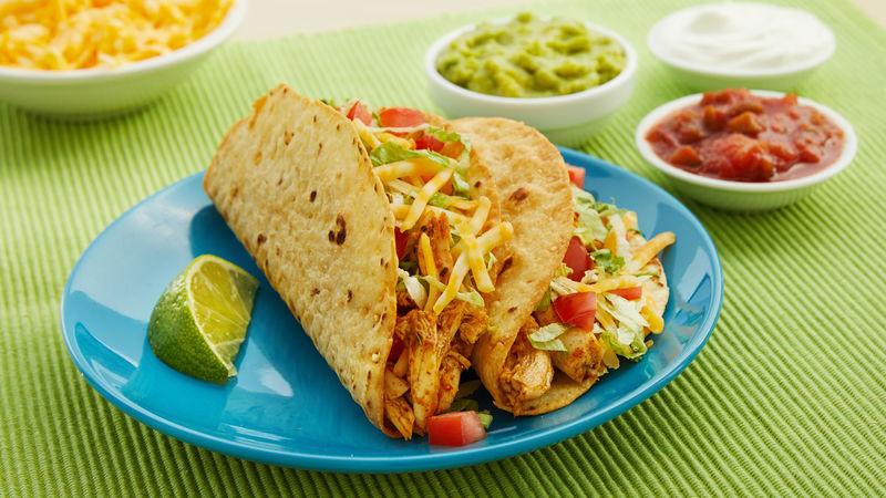 Crispy Flour Tortilla Chicken Tacos