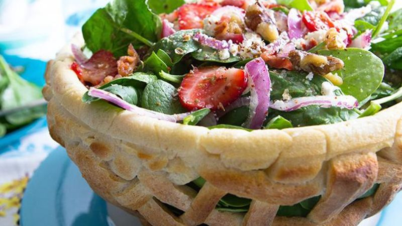 Strawberry Spring Salad in a Woven Bread Bowl