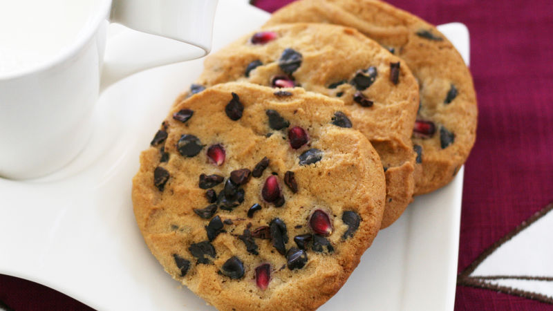 Pomegranate-Cocoa Nib Chocolate Chip Cookies