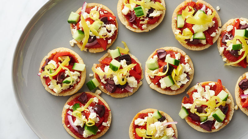 Mini Greek Pita Pizzas Recipe Tablespoon Com