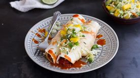 Chorizo Enchiladas with Mango Slaw