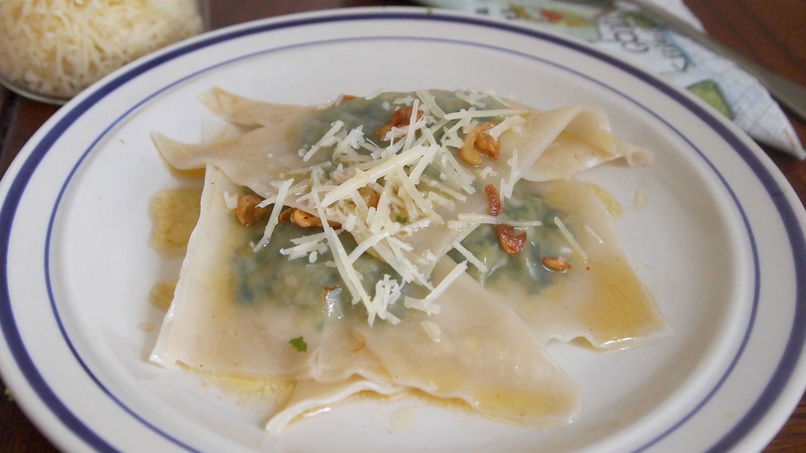 Pumpkin, Kale and Maple Syrup Ravioli with Garlic Butter