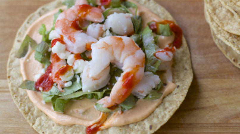 Shrimp and Sriracha Tostadas
