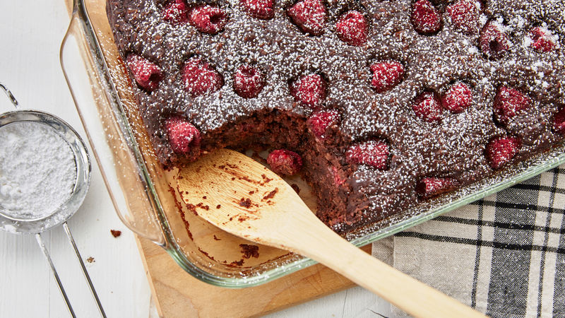 Chocolate Raspberry Cake-Mix Baked Oatmeal