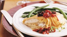 Crescent-Bundled Chicken with Cranberry Chutney