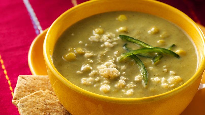 Sopa crema de chile poblano y maíz