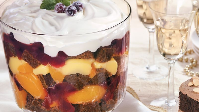 Cranberry-Peach Gingerbread Trifle