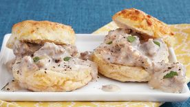 Gouda Biscuits and Sausage Gravy