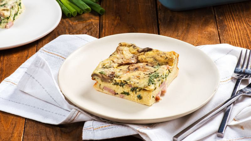 Make-Ahead Canadian Bacon and Mushroom Egg Bake