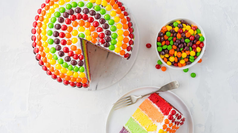 Skittles Rainbow Cake Recipe Tablespoon Com