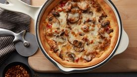 Sausage and Wild Mushroom Skillet Pizza (Cooking for 2)