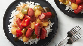 Polynesian Sweet and Sour Hot Dogs with Rice